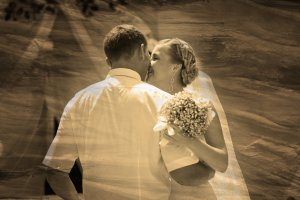 retro sepia black and white photo bride and groom, couple marrie